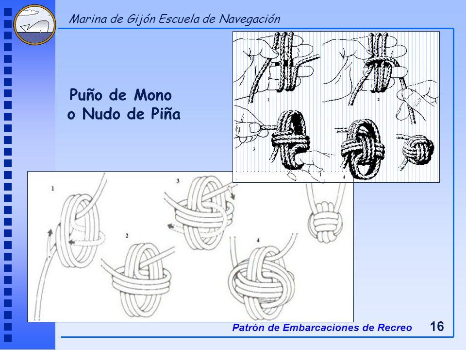 Puño de Mono o Nudo de Piña Patrón de Embarcaciones de Recreo 16 Marina de Gijón Escuela de Navegación