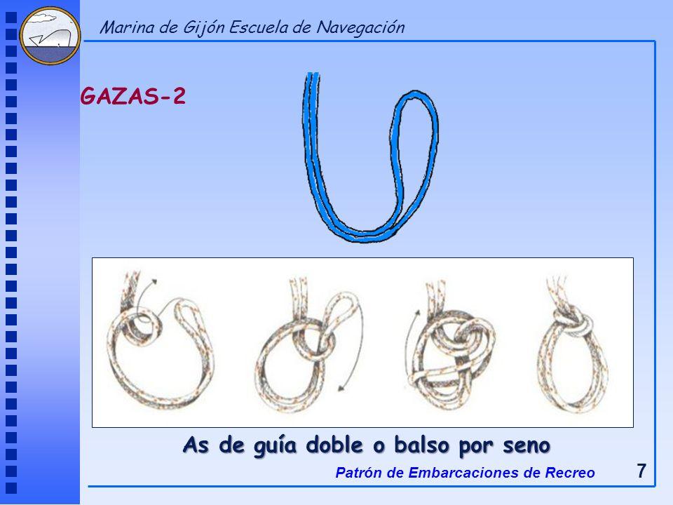 As de guía doble o balso por seno GAZAS-2 Patrón de Embarcaciones de Recreo 7 Marina de Gijón Escuela de Navegación