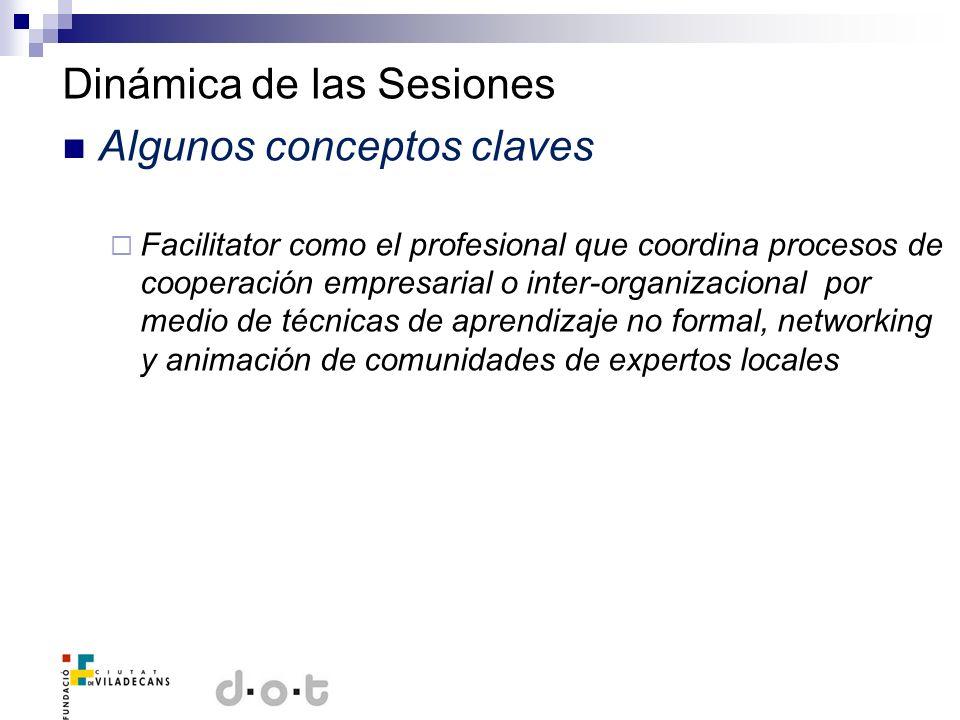 Dinámica de las Sesiones Algunos conceptos claves Facilitator como el profesional que coordina procesos de cooperación empresarial o inter-organizacio