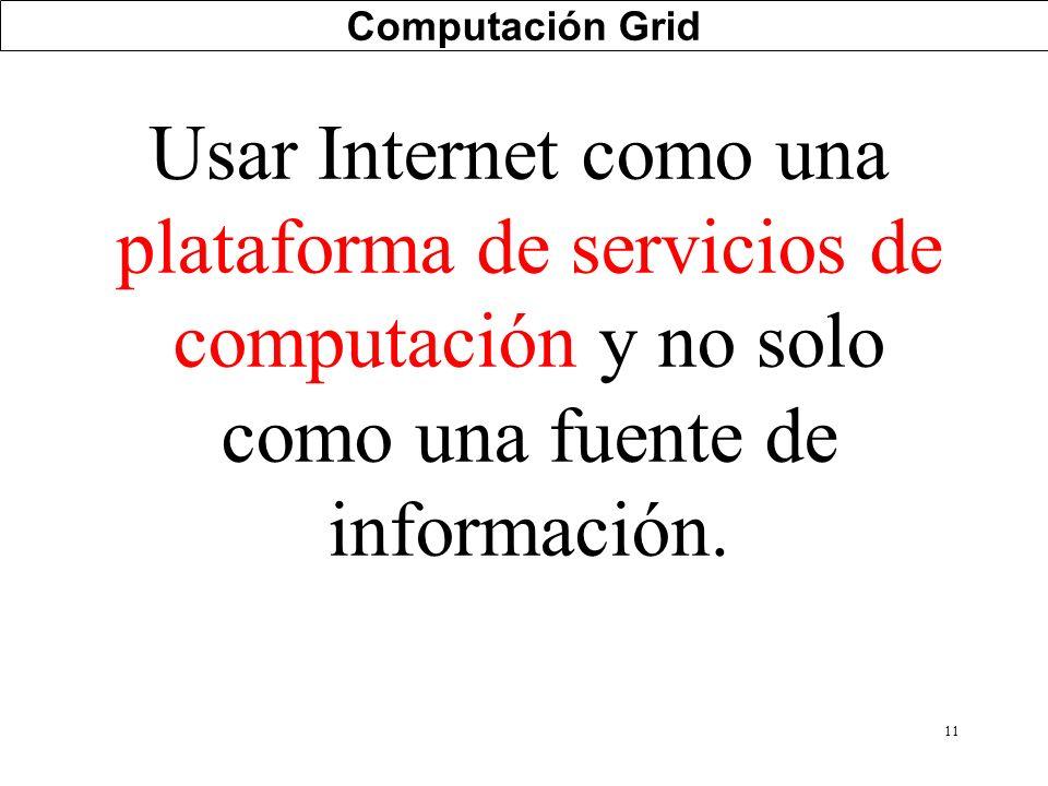 11 Computación Grid Usar Internet como una plataforma de servicios de computación y no solo como una fuente de información.