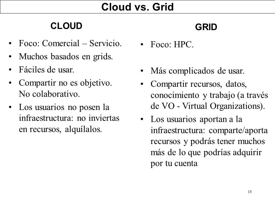 16 Cloud vs. Grid CLOUD Foco: Comercial – Servicio. Muchos basados en grids. Fáciles de usar. Compartir no es objetivo. No colaborativo. Los usuarios