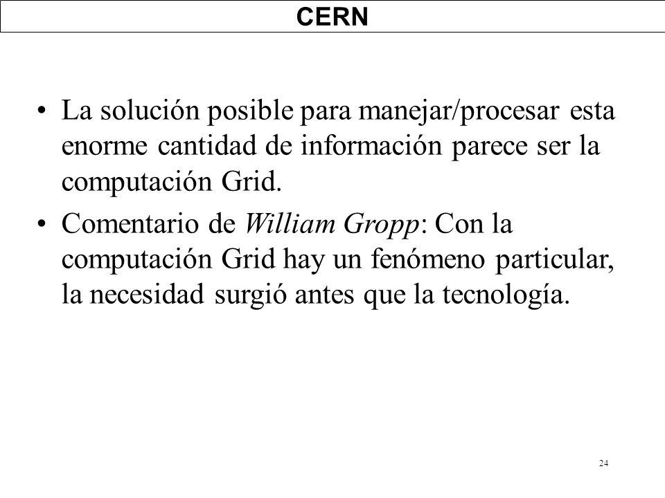 24 CERN La solución posible para manejar/procesar esta enorme cantidad de información parece ser la computación Grid. Comentario de William Gropp: Con