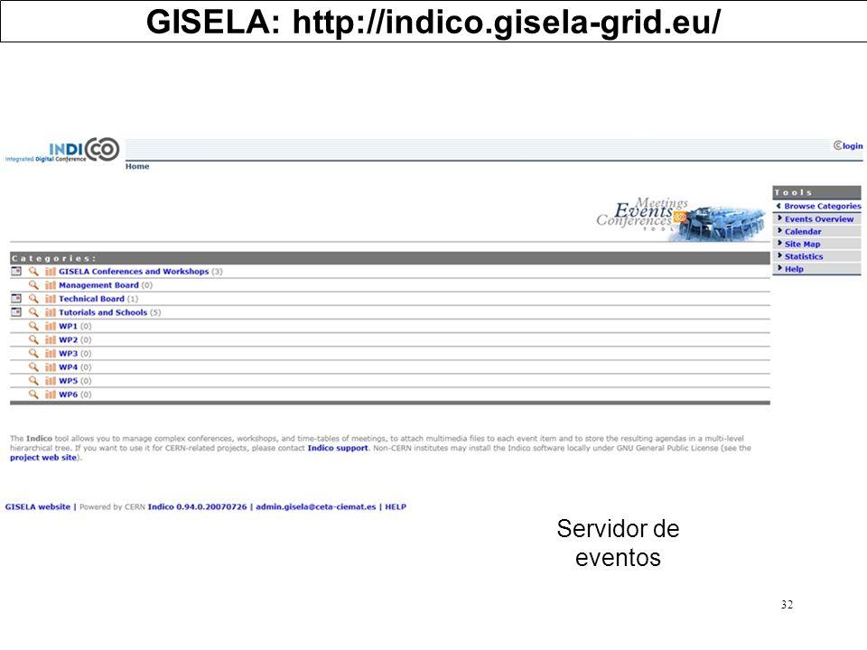 32 GISELA: http://indico.gisela-grid.eu/ Servidor de eventos
