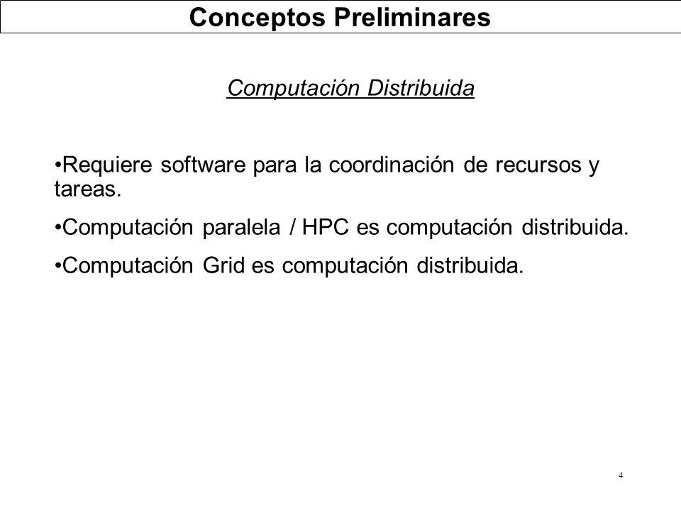 4 Computación Distribuida Requiere software para la coordinación de recursos y tareas. Computación paralela / HPC es computación distribuida. Computac