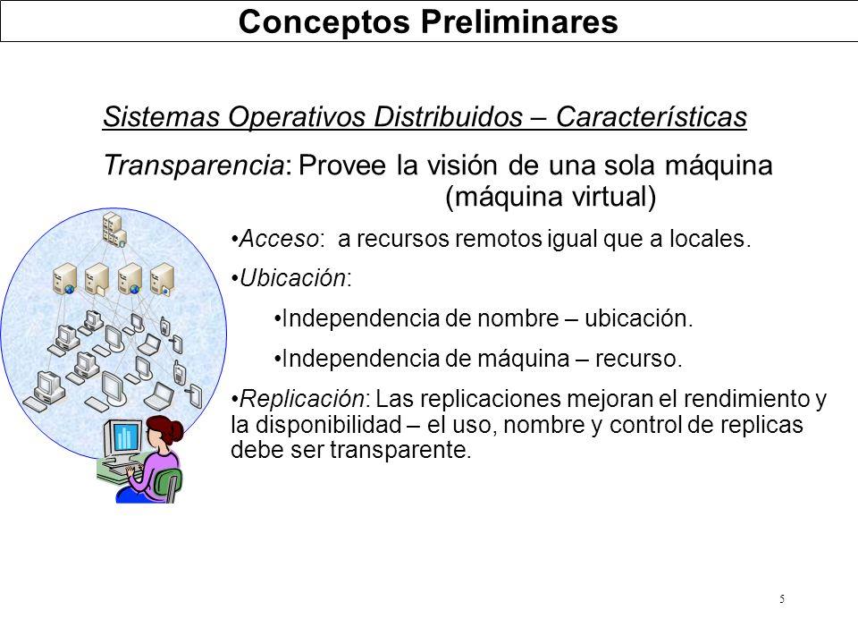 5 Sistemas Operativos Distribuidos – Características Transparencia: Provee la visión de una sola máquina (máquina virtual) Acceso: a recursos remotos