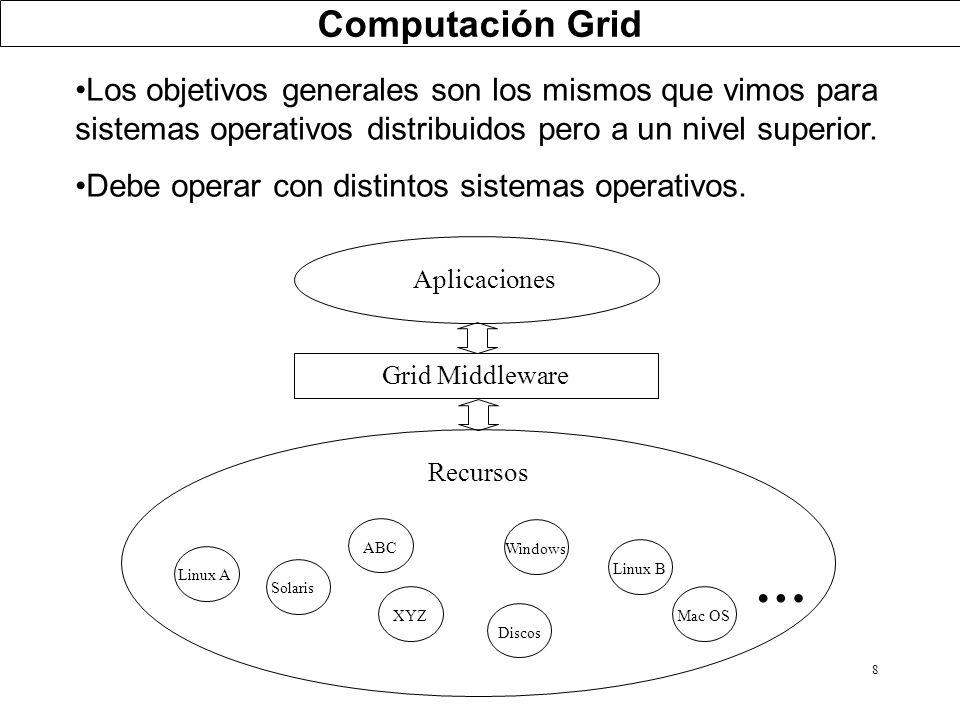 8 Los objetivos generales son los mismos que vimos para sistemas operativos distribuidos pero a un nivel superior. Debe operar con distintos sistemas