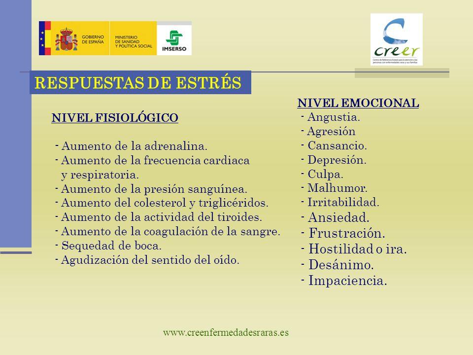 www.creenfermedadesraras.es RESPUESTAS DE ESTRÉS NIVEL COGNITIVO - Trastorno de concentración y memoria ( corto plazo ) - Indecisión.