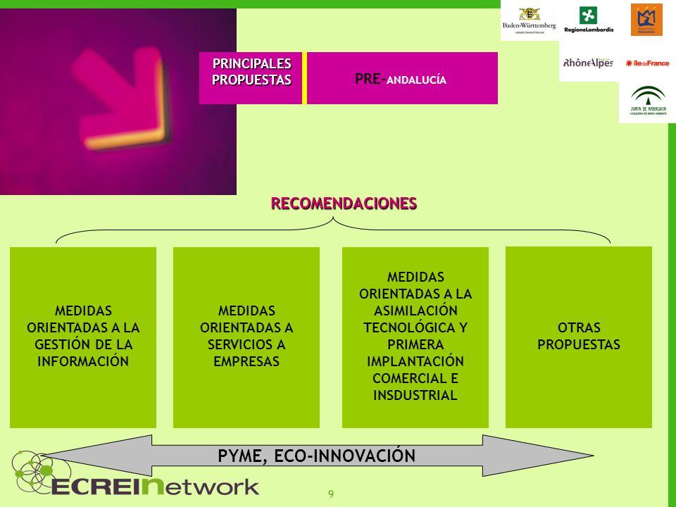 99 PRINCIPALESPROPUESTAS RECOMENDACIONES MEDIDAS ORIENTADAS A LA GESTIÓN DE LA INFORMACIÓN MEDIDAS ORIENTADAS A SERVICIOS A EMPRESAS MEDIDAS ORIENTADAS A LA ASIMILACIÓN TECNOLÓGICA Y PRIMERA IMPLANTACIÓN COMERCIAL E INSDUSTRIAL PYME, ECO-INNOVACIÓN OTRAS PROPUESTAS