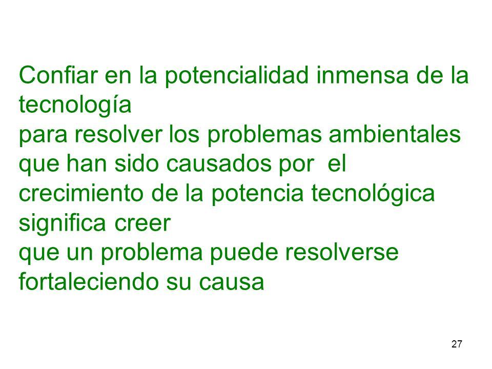 27 Confiar en la potencialidad inmensa de la tecnología para resolver los problemas ambientales que han sido causados por el crecimiento de la potenci