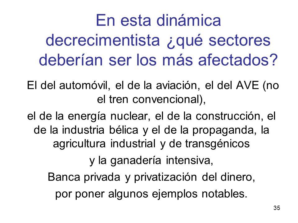 35 En esta dinámica decrecimentista ¿qué sectores deberían ser los más afectados? El del automóvil, el de la aviación, el del AVE (no el tren convenci