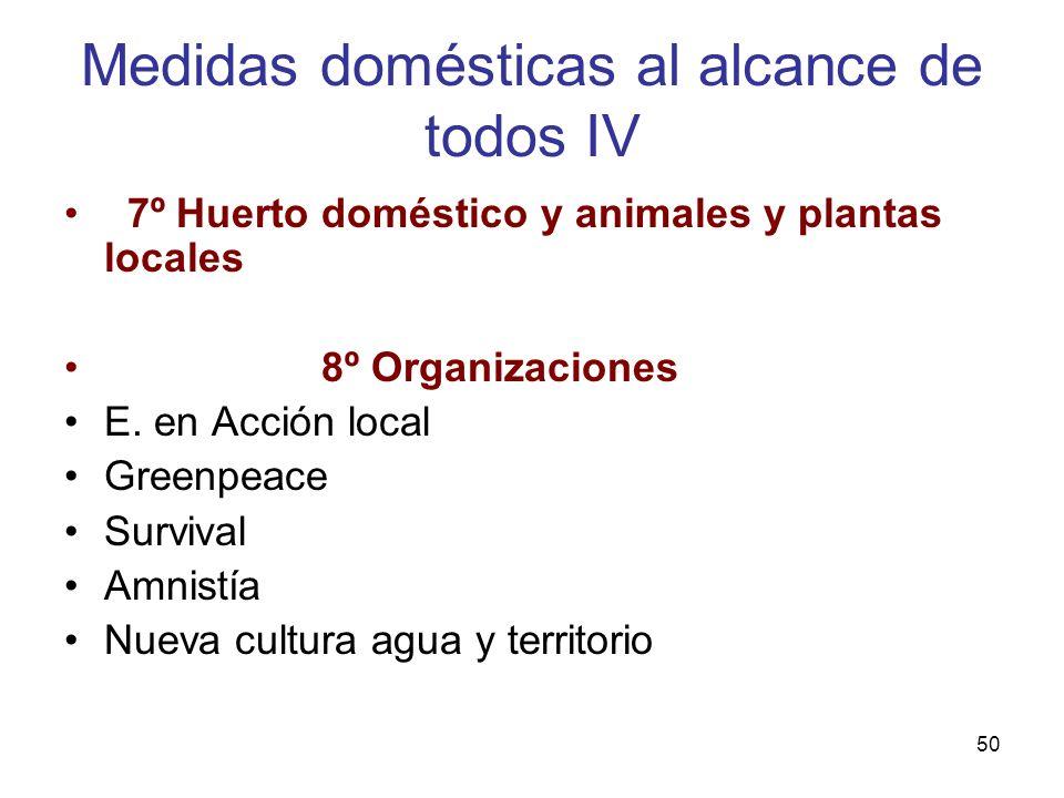 50 Medidas domésticas al alcance de todos IV 7º Huerto doméstico y animales y plantas locales 8º Organizaciones E. en Acción local Greenpeace Survival