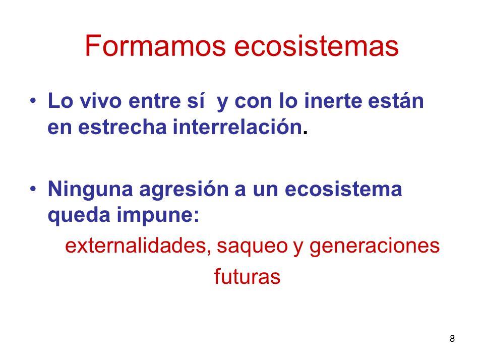 8 Formamos ecosistemas Lo vivo entre sí y con lo inerte están en estrecha interrelación. Ninguna agresión a un ecosistema queda impune: externalidades