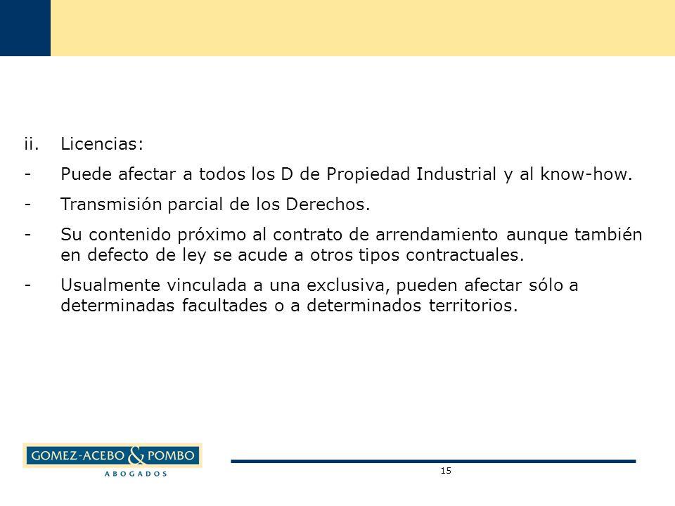 ii.Licencias: -Puede afectar a todos los D de Propiedad Industrial y al know-how.