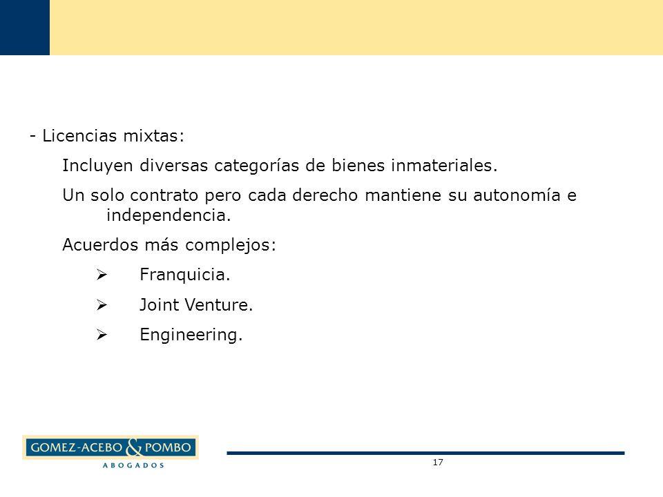 - Licencias mixtas: Incluyen diversas categorías de bienes inmateriales.