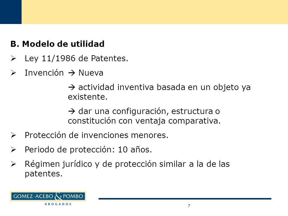 B. Modelo de utilidad Ley 11/1986 de Patentes.