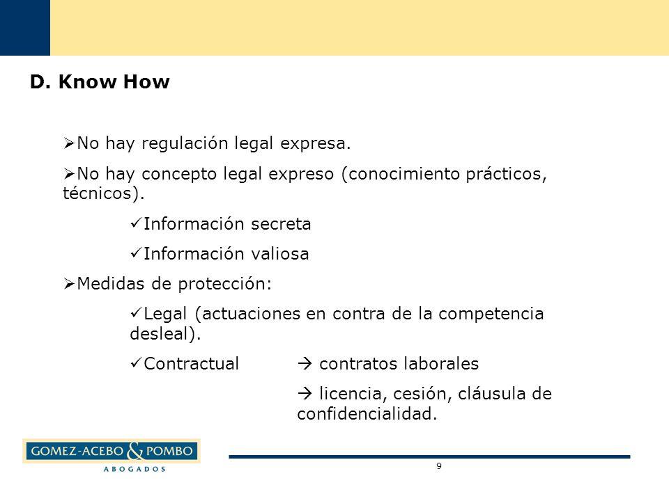 D. Know How No hay regulación legal expresa. No hay concepto legal expreso (conocimiento prácticos, técnicos). Información secreta Información valiosa