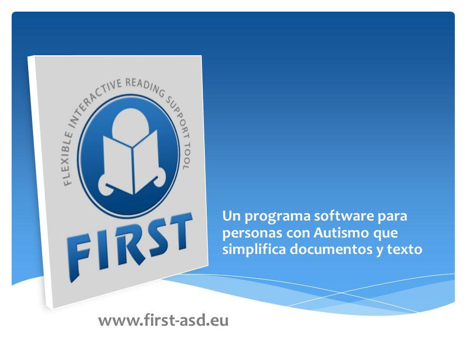 Un programa software para personas con Autismo que simplifica documentos y texto www.first-asd.eu