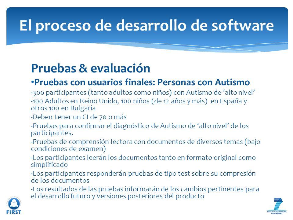 Pruebas & evaluación Pruebas con usuarios finales: Personas con Autismo -300 participantes (tanto adultos como niños) con Autismo de alto nivel -100 A