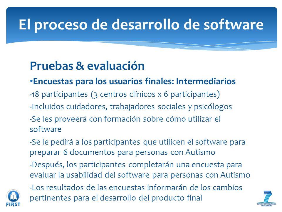 Pruebas & evaluación Encuestas para los usuarios finales: Intermediarios -18 participantes (3 centros clínicos x 6 participantes) -Incluidos cuidadore
