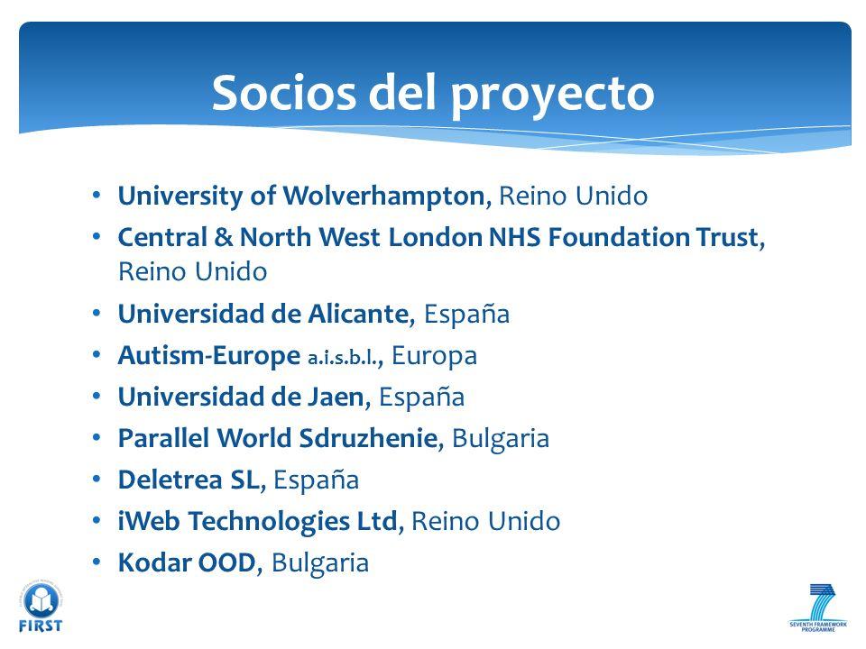 University of Wolverhampton, Reino Unido Central & North West London NHS Foundation Trust, Reino Unido Universidad de Alicante, España Autism-Europe a