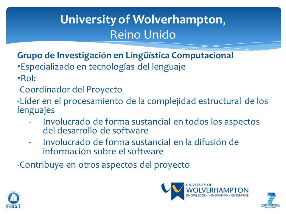 Grupo de Investigación en Lingüística Computacional Especializado en tecnologías del lenguaje Rol: -Coordinador del Proyecto -Líder en el procesamient