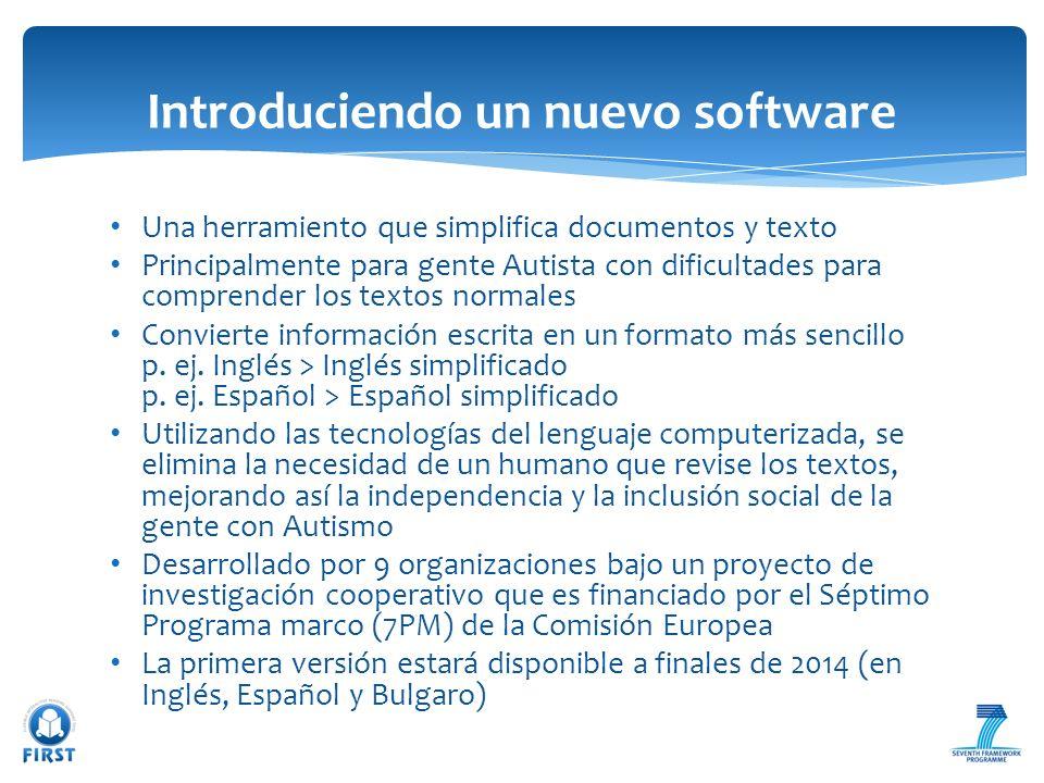 Una herramiento que simplifica documentos y texto Principalmente para gente Autista con dificultades para comprender los textos normales Convierte inf