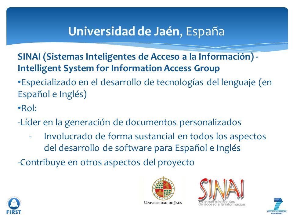 SINAI (Sistemas Inteligentes de Acceso a la Información) - Intelligent System for Information Access Group Especializado en el desarrollo de tecnologí