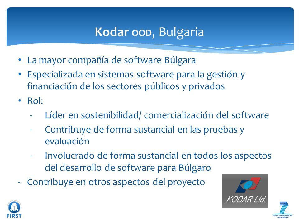 La mayor compañía de software Búlgara Especializada en sistemas software para la gestión y financiación de los sectores públicos y privados Rol: -Líde