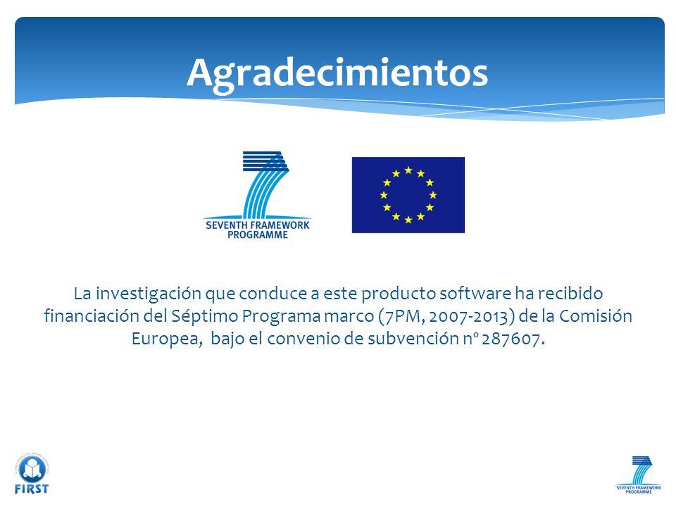 La investigación que conduce a este producto software ha recibido financiación del Séptimo Programa marco (7PM, 2007-2013) de la Comisión Europea, baj