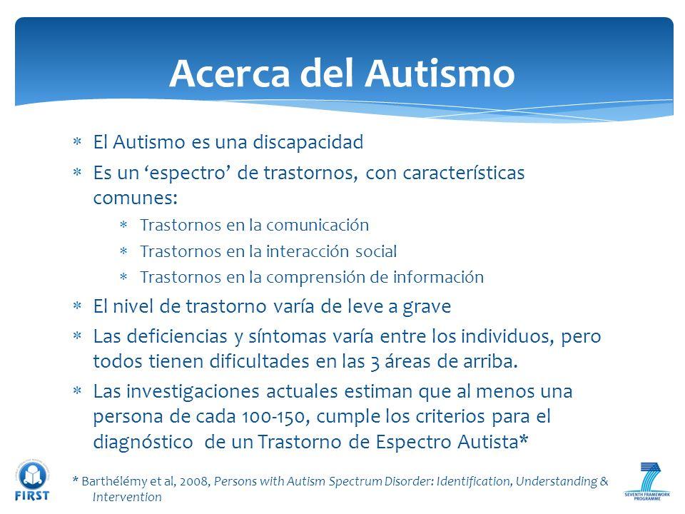 El Autismo es una discapacidad Es un espectro de trastornos, con características comunes: Trastornos en la comunicación Trastornos en la interacción s