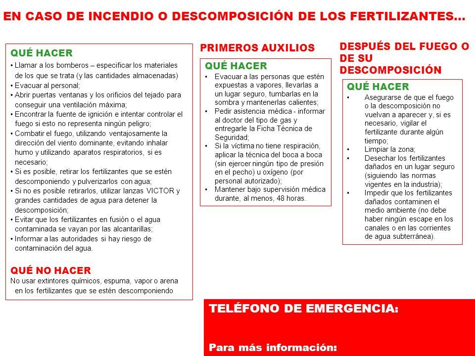 TELÉFONO DE EMERGENCIA : Para más información: QUÉ HACER Llamar a los bomberos – especificar los materiales de los que se trata (y las cantidades alma