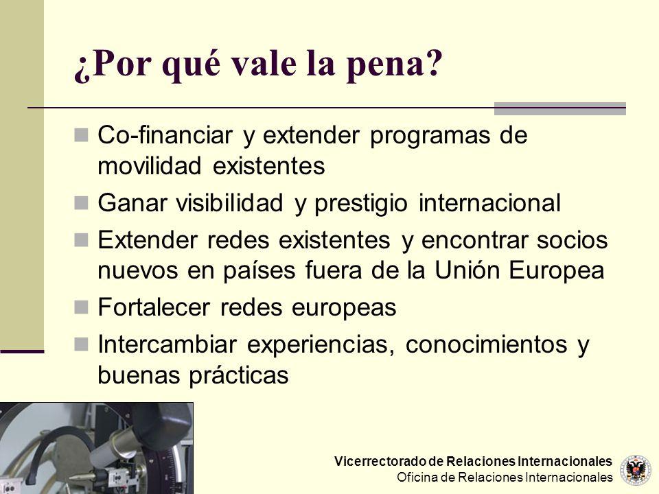Vicerrectorado de Relaciones Internacionales Oficina de Relaciones Internacionales ¿Por qué vale la pena? Co-financiar y extender programas de movilid