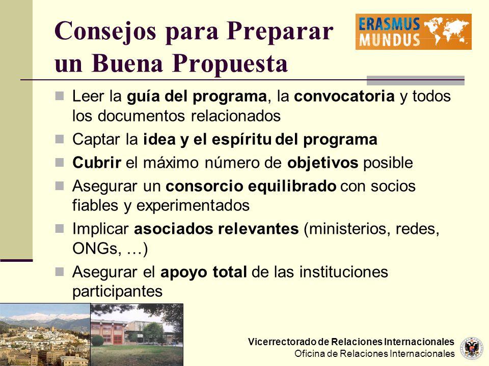 Vicerrectorado de Relaciones Internacionales Oficina de Relaciones Internacionales Consejos para Preparar un Buena Propuesta Leer la guía del programa