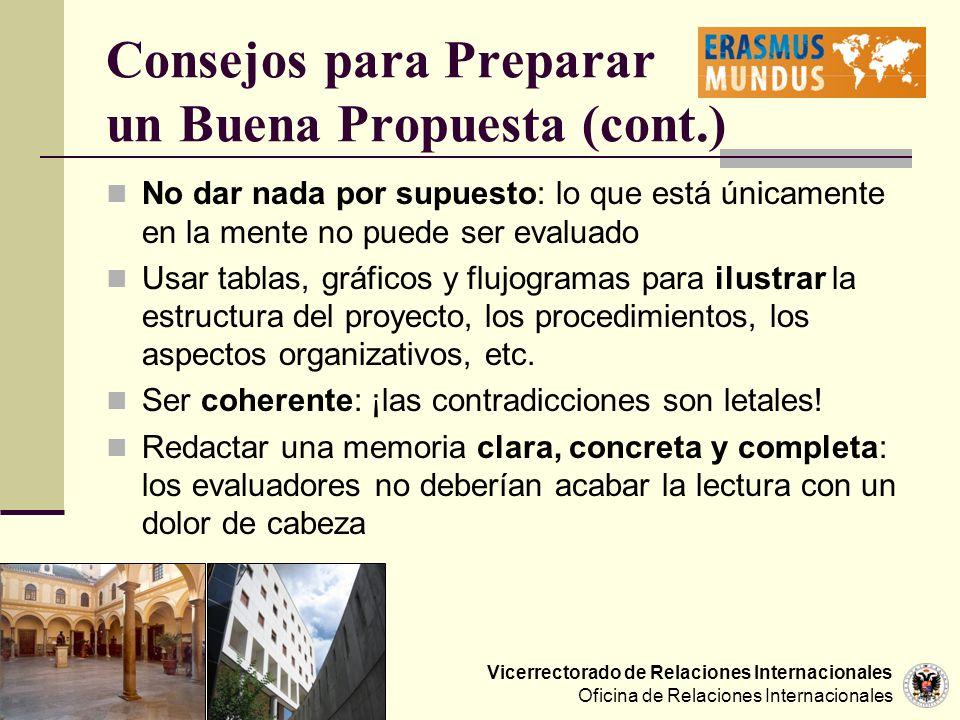 Vicerrectorado de Relaciones Internacionales Oficina de Relaciones Internacionales Consejos para Preparar un Buena Propuesta (cont.) No dar nada por s