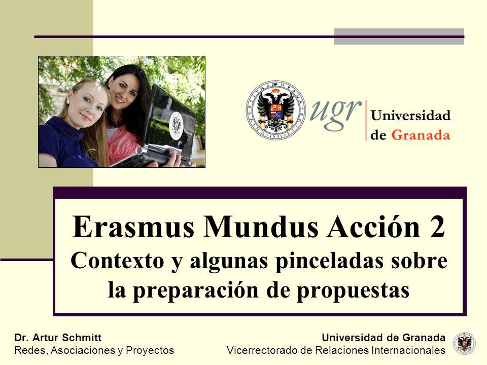 Erasmus Mundus Acción 2 Contexto y algunas pinceladas sobre la preparación de propuestas Universidad de Granada Vicerrectorado de Relaciones Internaci