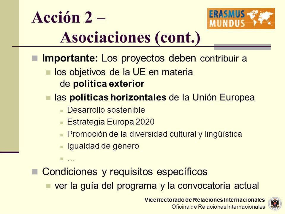 Vicerrectorado de Relaciones Internacionales Oficina de Relaciones Internacionales Acción 2 – Asociaciones (cont.) Importante: Los proyectos deben con
