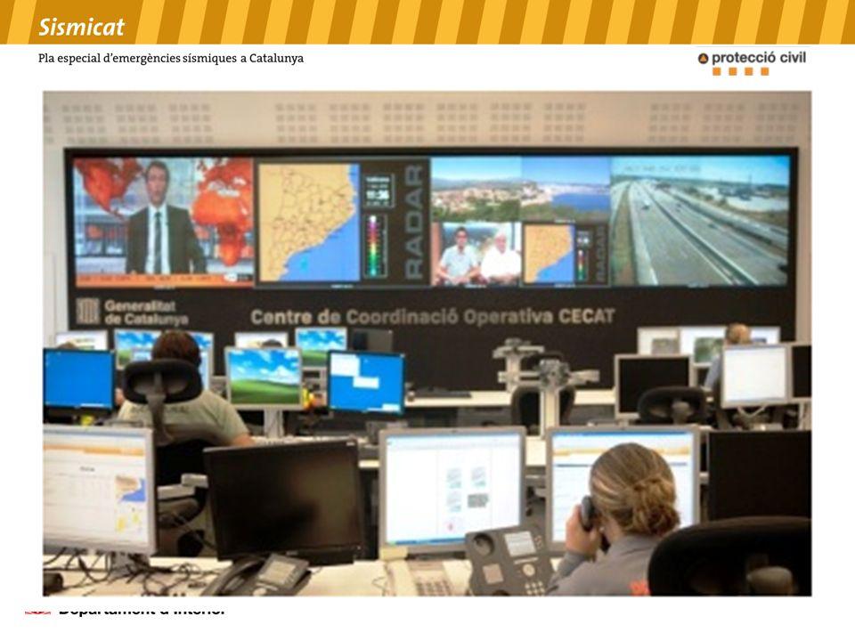 AVISO DE SEISMO: PRIMERAS ACCIONES El Instituto Geológico de Catalunya (IGC) envía a través de su sistema de teleaviso automático los seísmos de magnitud > 2.4 Información vía SMS Información vía correo electrónico LLAMADA AL SISMÓLOGO/A de guardia del IGC: confirmación de los datos DIFUSIÓN DE LA INFORMACIÓ RECABAR INFORMACIÓN
