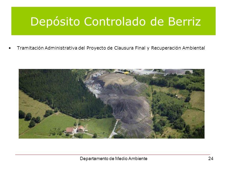 Departamento de Medio Ambiente24 Depósito Controlado de Berriz Tramitación Administrativa del Proyecto de Clausura Final y Recuperación Ambiental