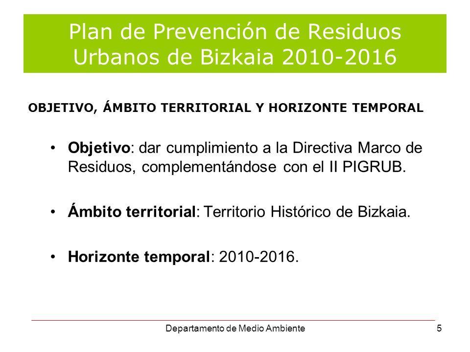 Departamento de Medio Ambiente5 Plan de Prevención de Residuos Urbanos de Bizkaia 2010-2016 Objetivo: dar cumplimiento a la Directiva Marco de Residuo