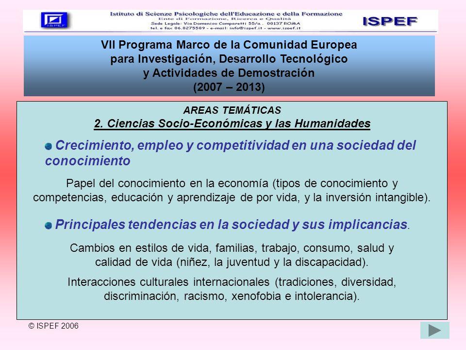 VII Programa Marco de la Comunidad Europea para Investigación, Desarrollo Tecnológico y Actividades de Demostración (2007 – 2013) AREAS TEMÁTICAS 2. C