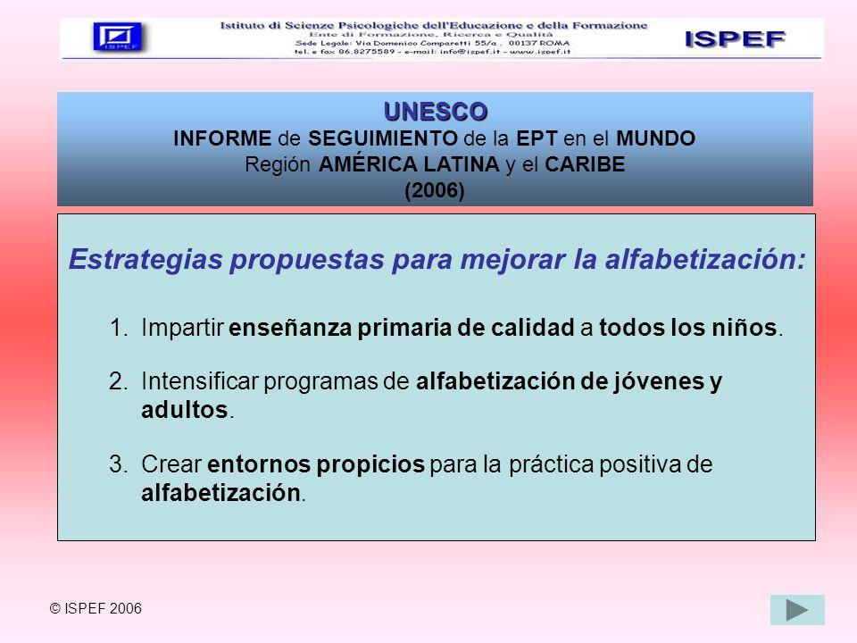 Estrategias propuestas para mejorar la alfabetización: 1.Impartir enseñanza primaria de calidad a todos los niños. 2.Intensificar programas de alfabet
