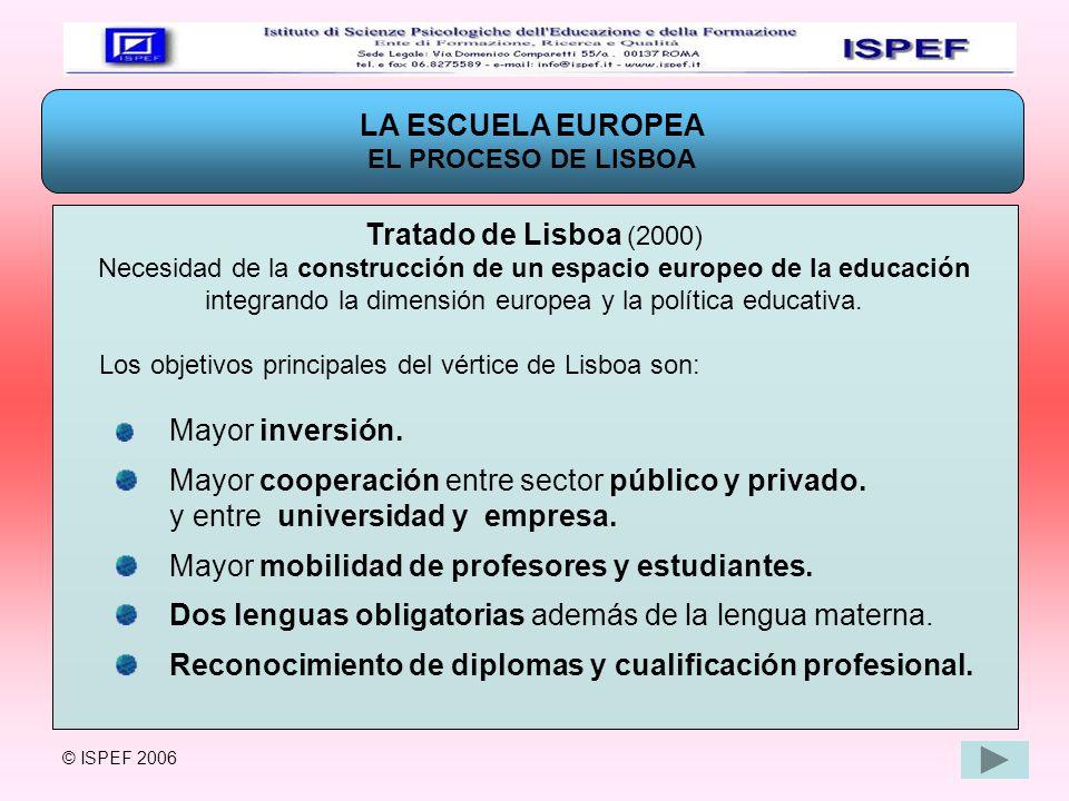 LA ESCUELA EUROPEA EL PROCESO DE LISBOA Tratado de Lisboa (2000) Necesidad de la construcción de un espacio europeo de la educación integrando la dime