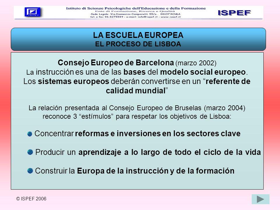 LA ESCUELA EUROPEA LA ESCUELA EN LA NUEVA CONSTITUCIÓN EUROPEA La Nueva Constitución Europea establece para el sector escolar que la Unión Europea debe : Favorecer la enseñanza de las lenguas y la mobilidad de los estudiantes y profesores (Programa Sócrates) Favorecer el intercambio de información y de experiencia en el ámbito comunitario (Red Eurycide) Favorecer el intercambio entre los estudiantes (Programa Erasmus) © ISPEF 2006