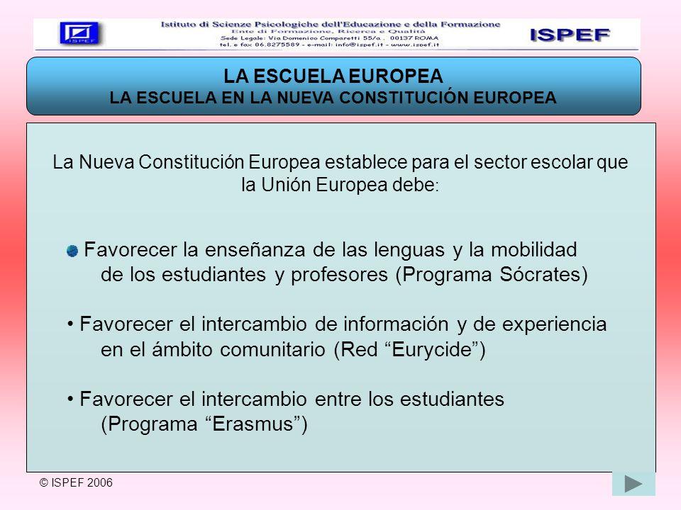 LA ESCUELA EUROPEA LA ESCUELA EN LA NUEVA CONSTITUCIÓN EUROPEA La Nueva Constitución Europea establece para el sector escolar que la Unión Europea deb