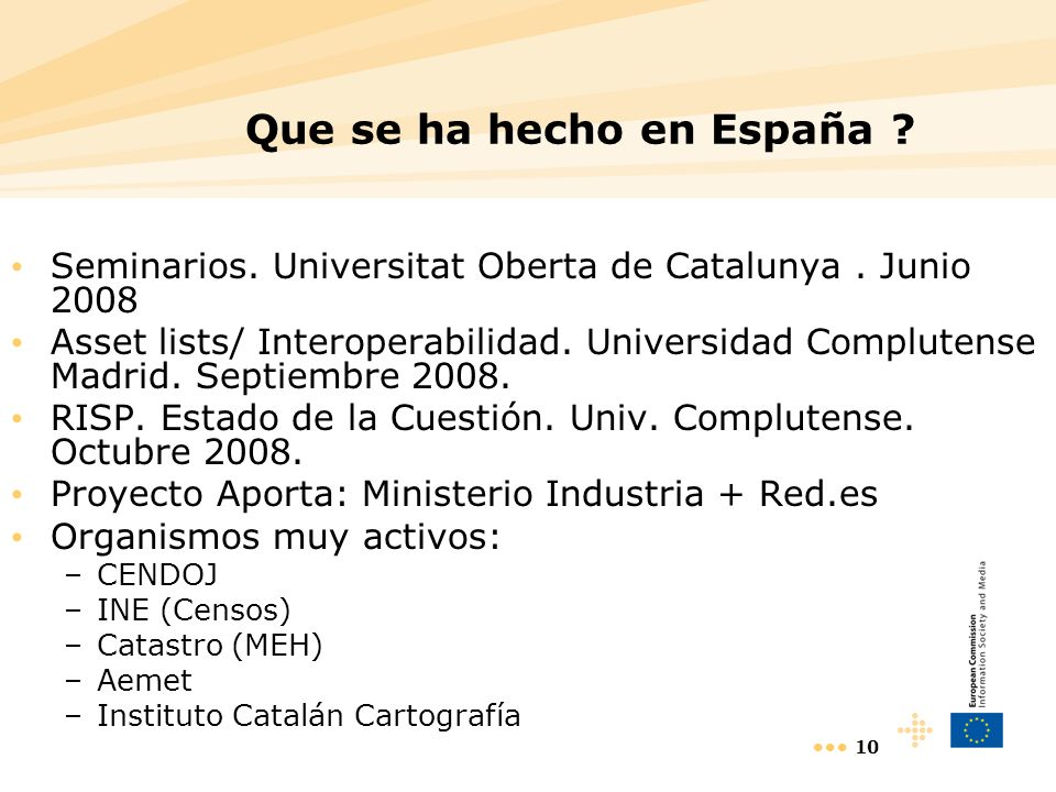 10 Que se ha hecho en España ? Seminarios. Universitat Oberta de Catalunya. Junio 2008 Asset lists/ Interoperabilidad. Universidad Complutense Madrid.