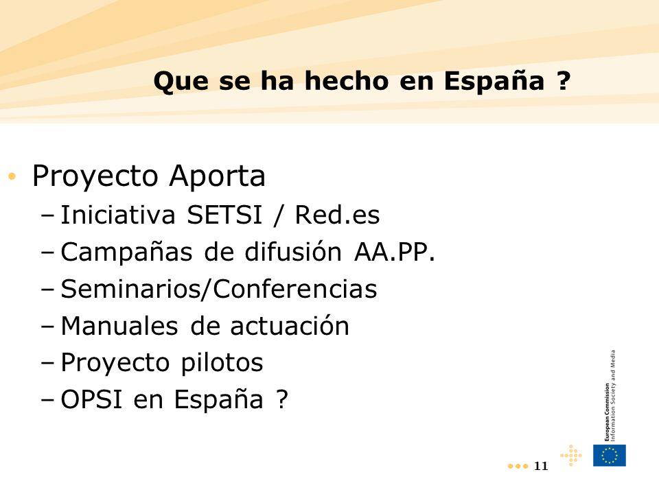 11 Que se ha hecho en España ? Proyecto Aporta –Iniciativa SETSI / Red.es –Campañas de difusión AA.PP. –Seminarios/Conferencias –Manuales de actuación