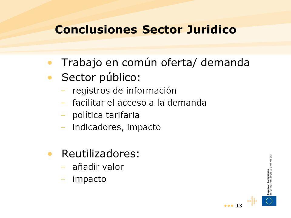 13 Conclusiones Sector Juridico Trabajo en común oferta/ demanda Sector público: –registros de información –facilitar el acceso a la demanda –política