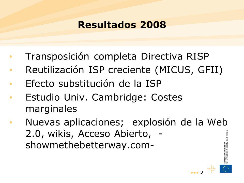 2 Resultados 2008 Transposición completa Directiva RISP Reutilización ISP creciente (MICUS, GFII) Efecto substitución de la ISP Estudio Univ. Cambridg
