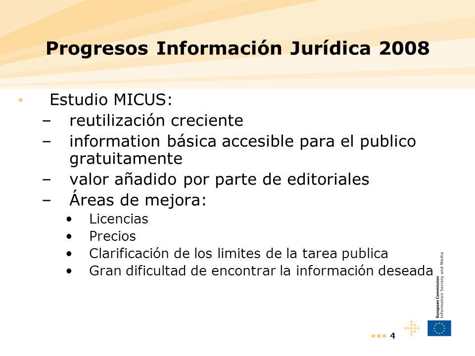 4 Progresos Información Jurídica 2008 Estudio MICUS: –reutilización creciente –information básica accesible para el publico gratuitamente –valor añadi