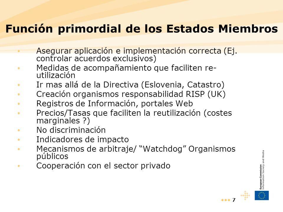 7 Función primordial de los Estados Miembros Asegurar aplicación e implementación correcta (Ej. controlar acuerdos exclusivos) Medidas de acompañamien